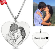 Personalized Sketch Photo Necklace (Heart Shaped)
