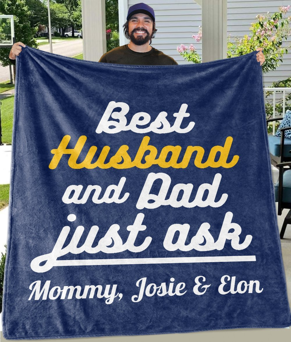 Best Husband & Dad Custom Fleece Blankets with Names - Perfect Birthday Holiday Gifts for Dad Uncle & Grandpa