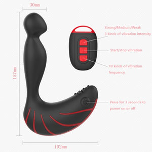 Vibration Mode Silicone P-Spot Anal-Butt-Plug Flexible Prostate Massager Vibrator