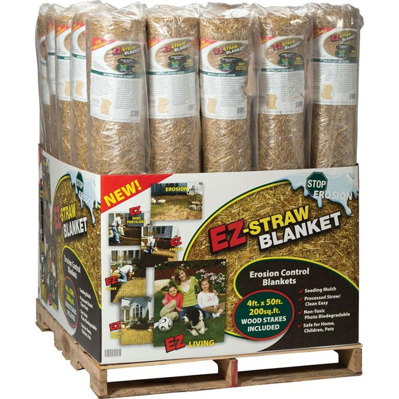 EZ-STRAW EROSION BLANKET W/WOOD STAKES DISPLAY