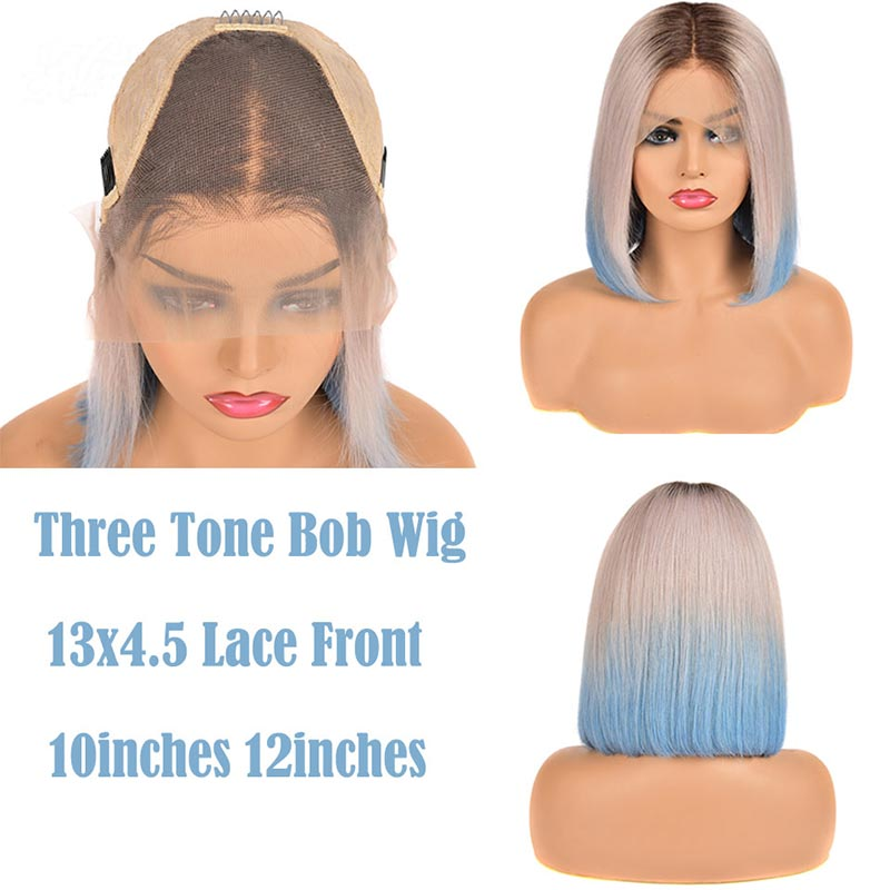 Ombre Malaysian Pre Plucked Straight Bob Lace Front Human Hair Wigs-2
