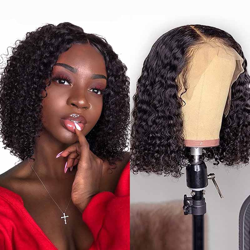 Short Pre-Plucked Peruvian Kinky Curly Bob Lace Front Wigs-1