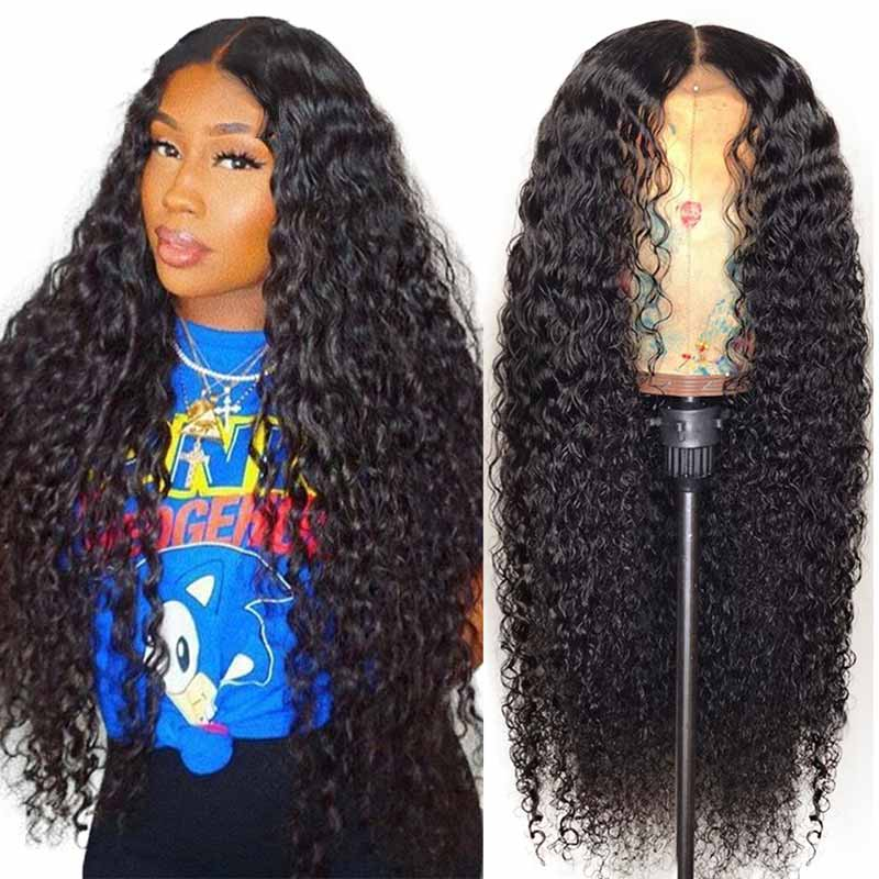 Malaysian Pre Plucked Curly Lace Front Human Hair Wigs-1