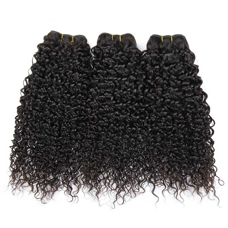 Indian Remy Kinky Curly Human Hair Weave Bundles-3
