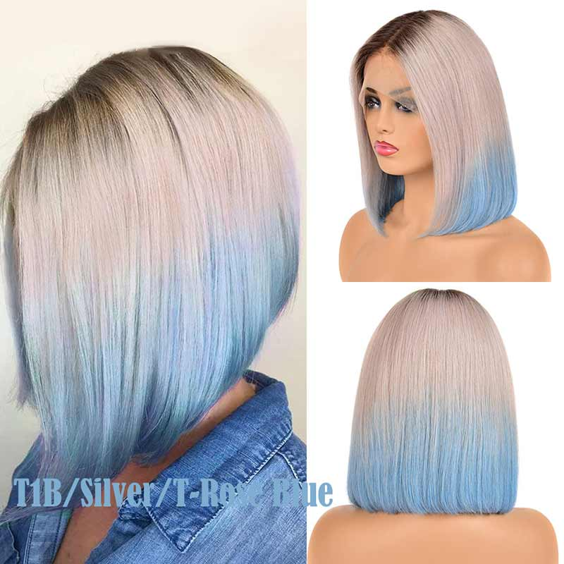 Ombre Malaysian Pre Plucked Straight Bob Lace Front Human Hair Wigs-4