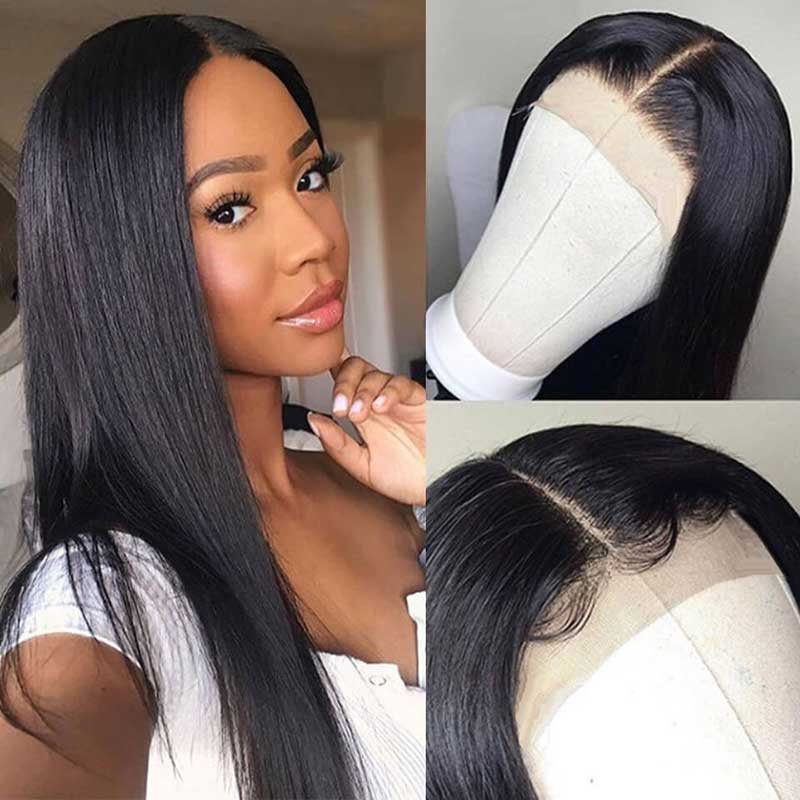 Peruvian Pre Plucked Straight Lace Front Human Hair Wigs-2