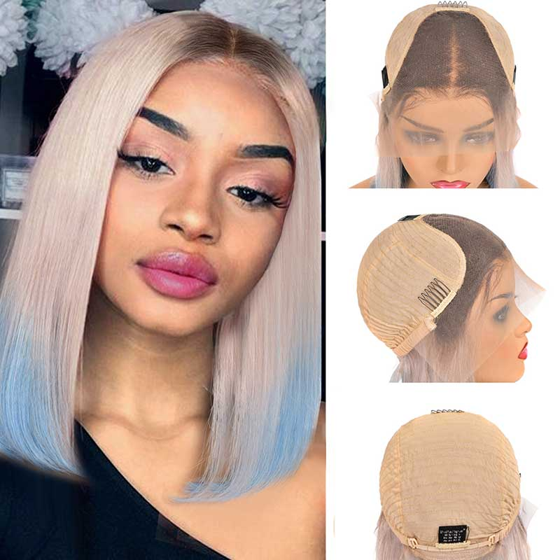 Ombre Malaysian Pre Plucked Straight Bob Lace Front Human Hair Wigs-1