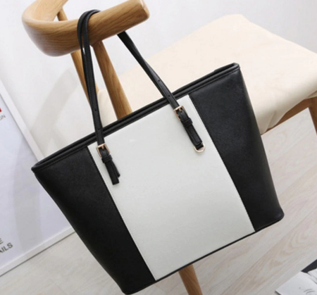 Bag Fashion Women Leather Handbag Brief Shoulder Bags Black White Large Capacity Luxury Handbags Tote Bags Design Bolsos