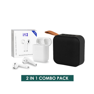 2 IN 1 COMBO PACK 3 - i12 Earphone & Bluetooth Speaker
