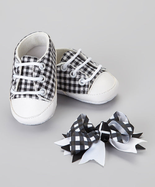 Gingham Shoes & Bow Set