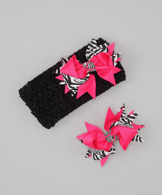 Duo Hair Clips with Headband Zebra Print