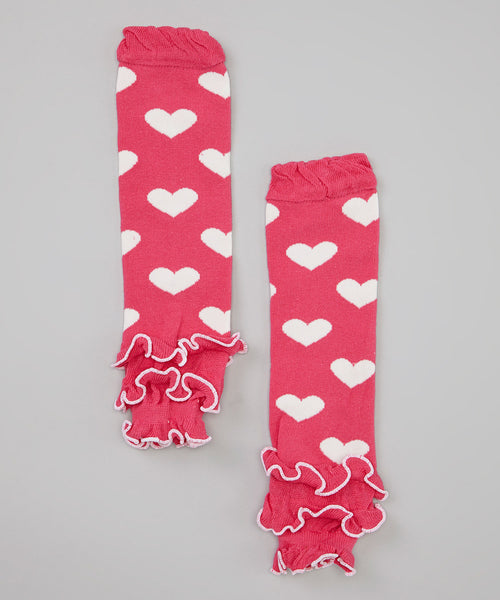 Leg Warmers in Hot Pink with White Hearts