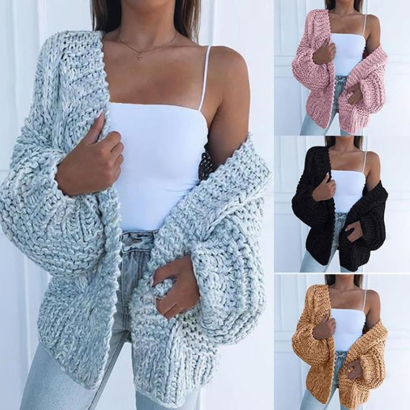 Autumn Winter long Sleeve Knitwear Cardigan Women smooth Knitted Sweater design Cardigan Female Jumper Coat pink