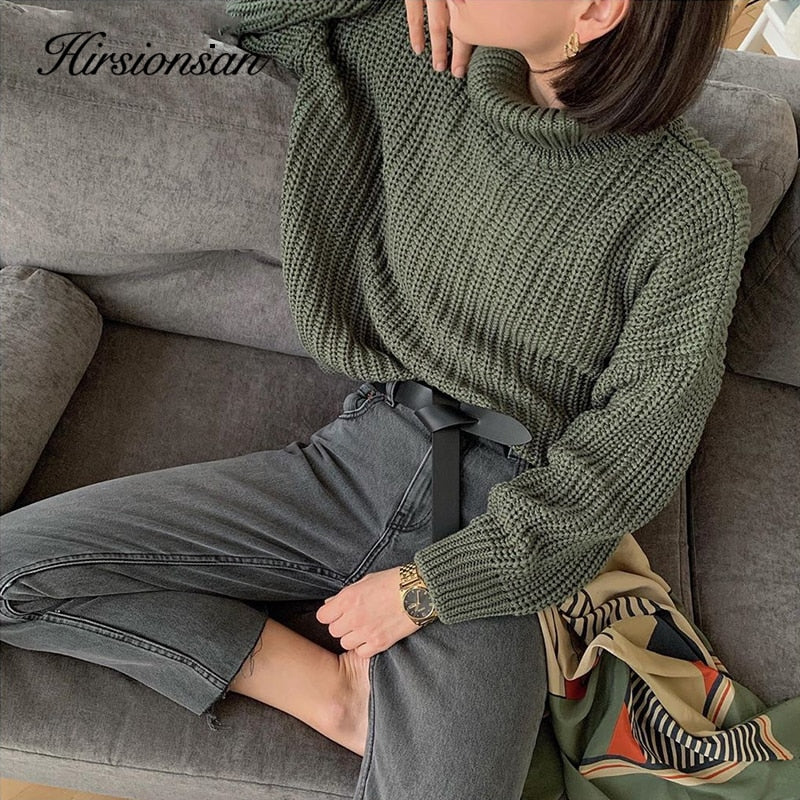 Hirsionsan Turtle Neck Sweater Women 2020 New Korean Elegant Solid Cashmere Sweater Oversized Thick Warm Female Pullovers Tops