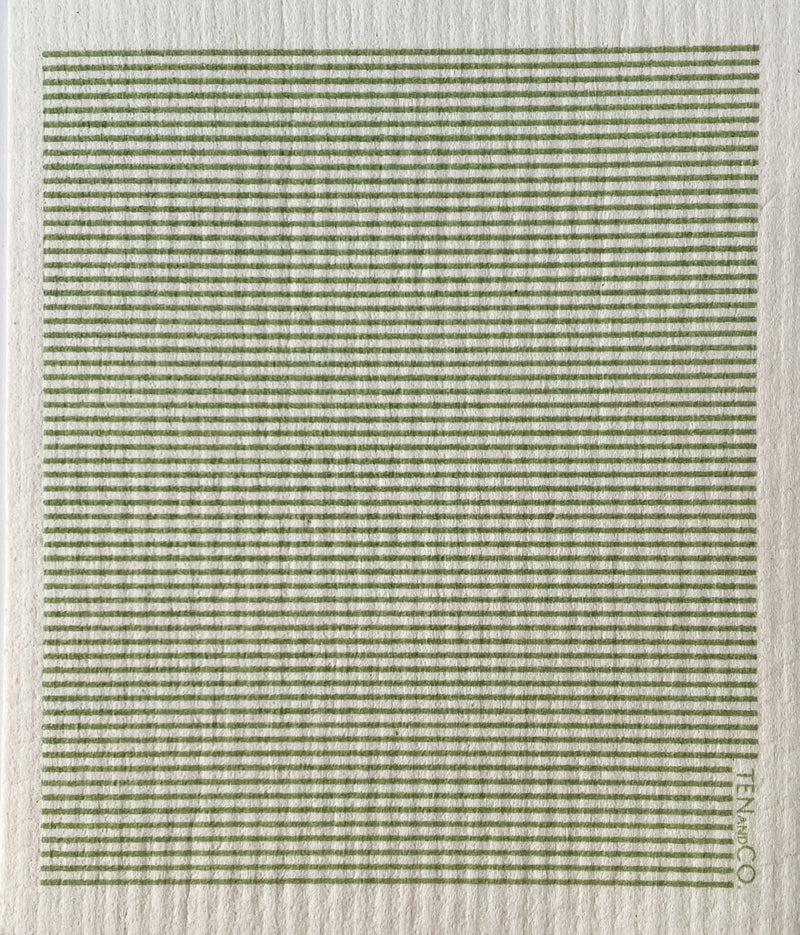 Stripe Sage Sponge Cloth