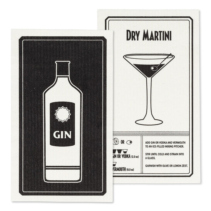 Gin & Martini Dishcloths. Set of 2