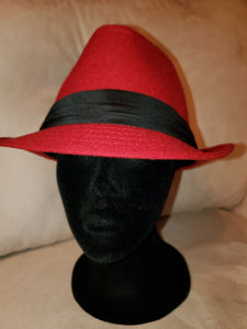 Red with Black Band Fedora Hat