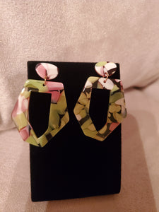 Multi-Color Pink and Green Earrings