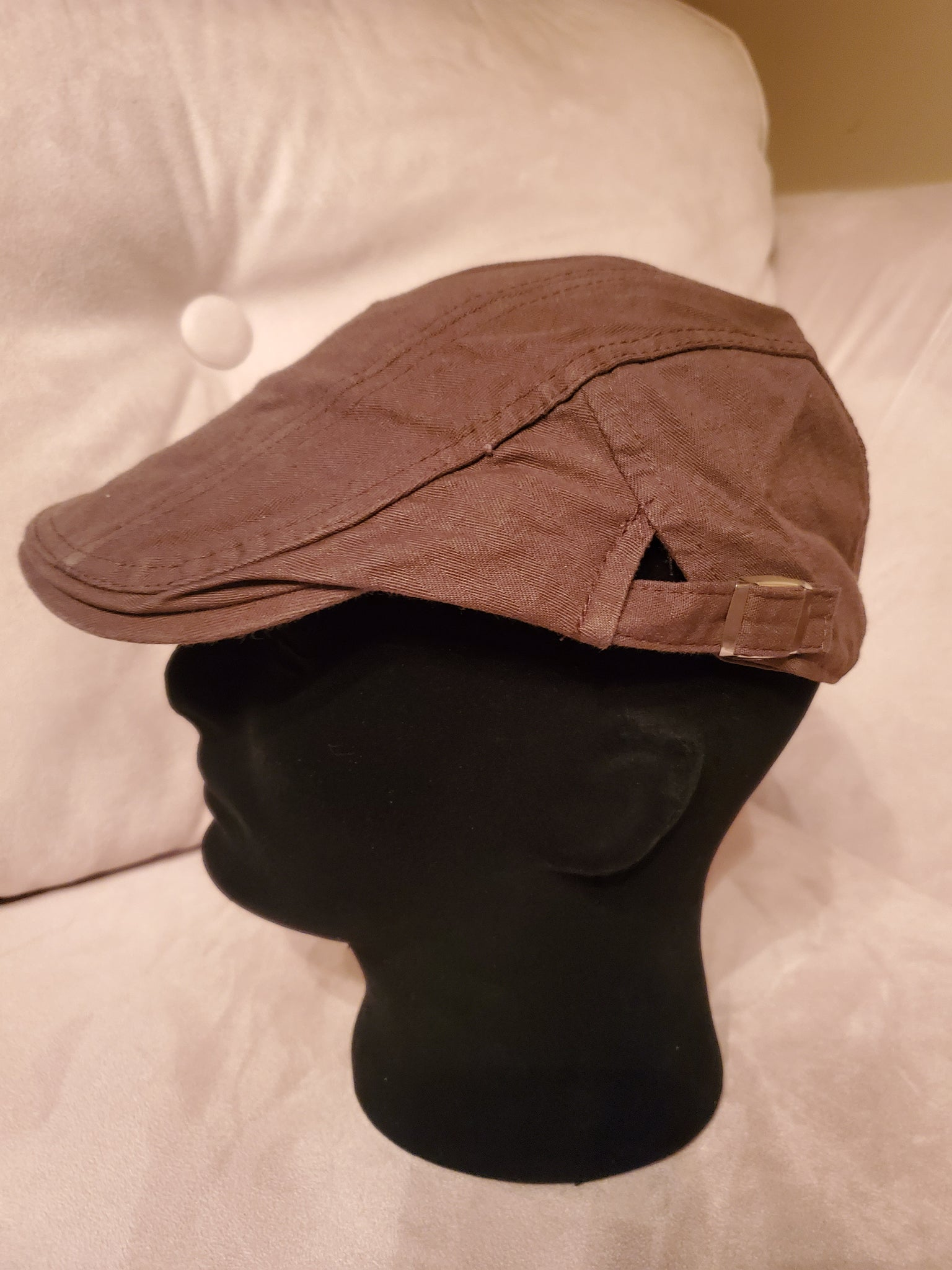 Brown Cotton Newsboy Hat