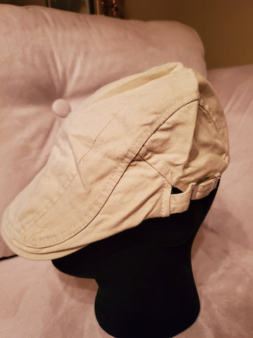 Beige Cotton Newsboy Hat