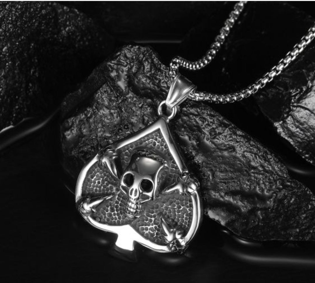 Playing cards spades skull necklace