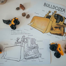 Load image into Gallery viewer, Bulldozer Anatomy Print with bonus colouring sheet (A4)