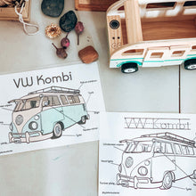 Load image into Gallery viewer, VW Kombi Anatomy Print with bonus colouring sheet (A4)