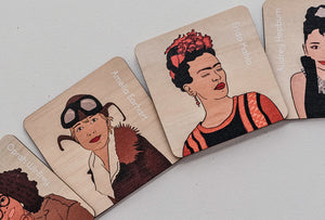 Iconic Women Timber Tile Memory Game