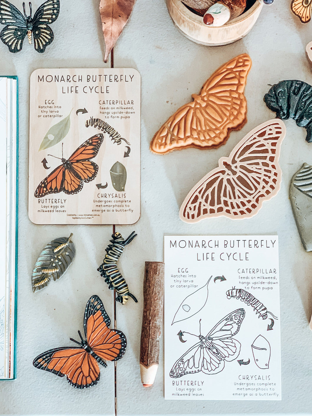 Monarch Butterfly Wooden Tile + Matching Colouring In Card