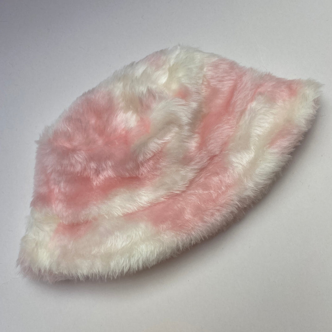Baby Pink and White Cow Print Fluffy Bucket Hat