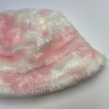 Load image into Gallery viewer, Baby Pink and White Cow Print Fluffy Bucket Hat