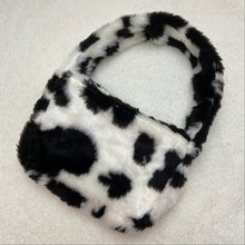 Load image into Gallery viewer, Black cow print faux fur shoulder bag