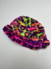 Load image into Gallery viewer, MEDIUM & SMALL | Neon leopard - Satin lined fluffy bucket hat