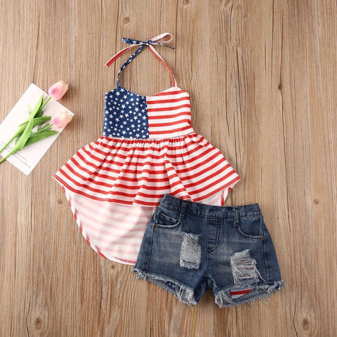 PRE-ORDER Girl's Americana Tunic And Denim Shorts-(5/11)