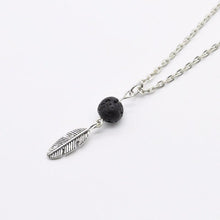 Load image into Gallery viewer, Silver Lava Bead and Leaf Diffuser Necklace