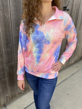 Load image into Gallery viewer, Tie Dye 1/4 Zip - Pink - RTS