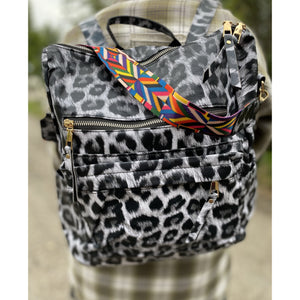 Back Pack with Guitar Strap - White Leopard - RTS