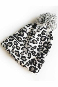 Leopard Beanie with a Pom - White - RTS
