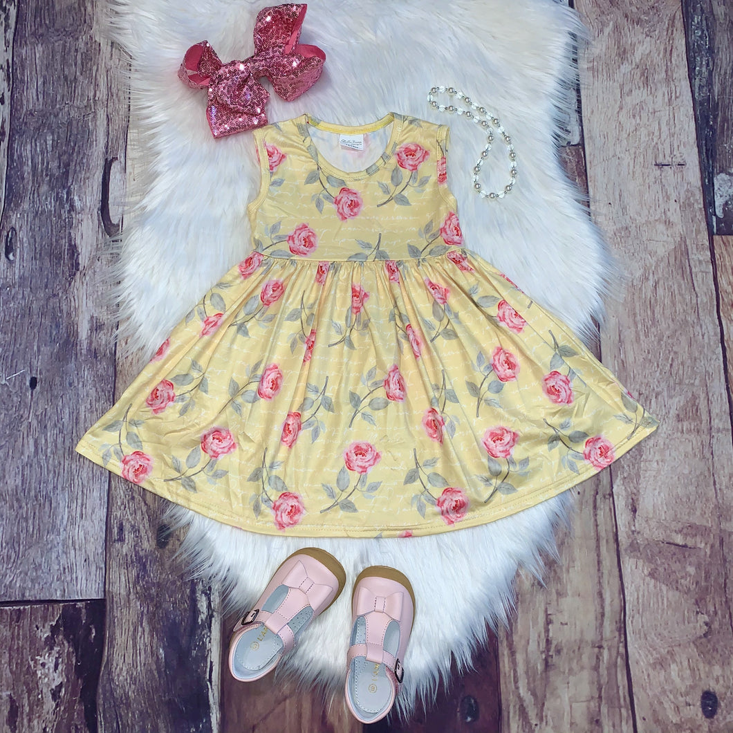 Mid Twirl Summer Dress in Yellow Rose Print