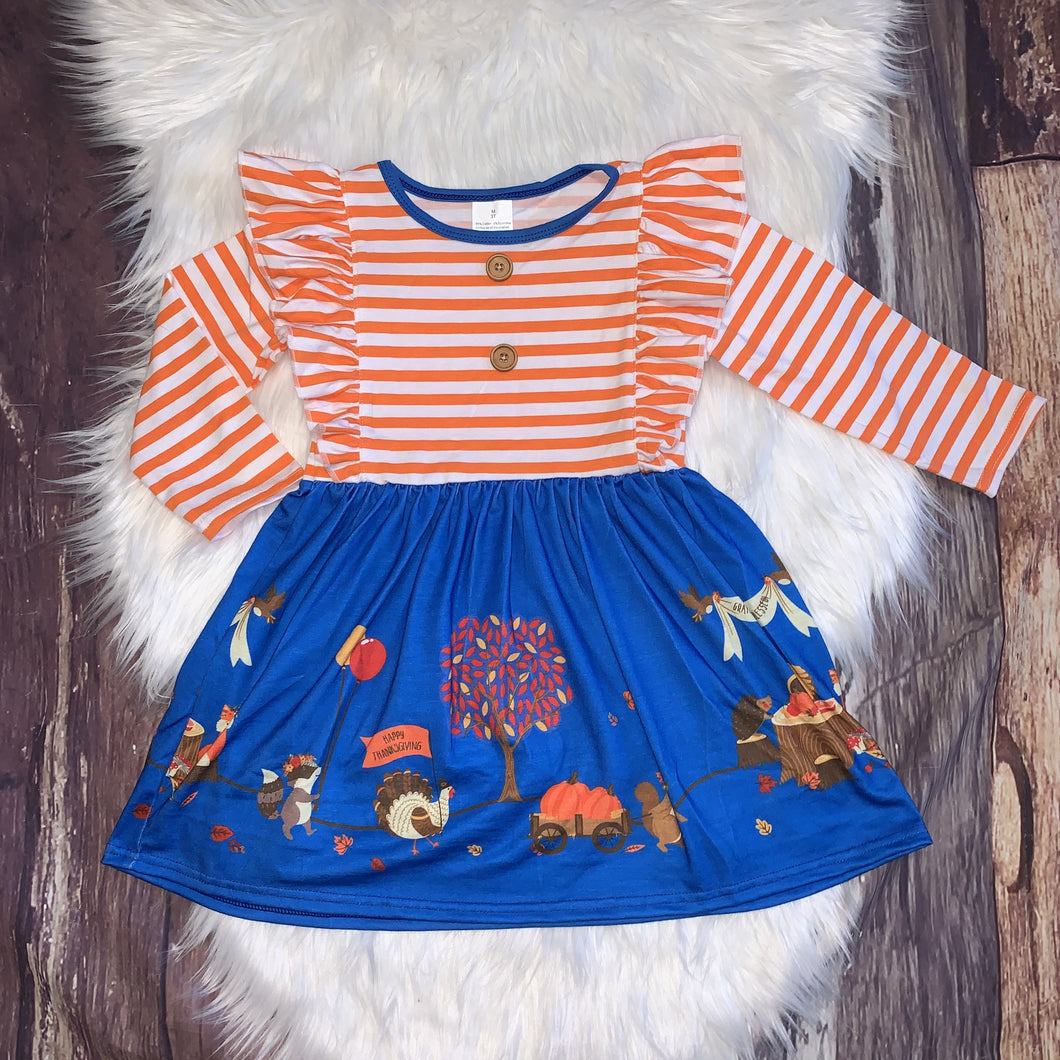 Orange Ruffle Stripe Turkey Day Dress