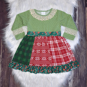 Green and Red Lace Panel Christmas Dress