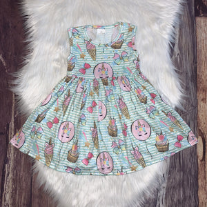 Unicorn Sweets Printed Partial-Twirl Summer Dress
