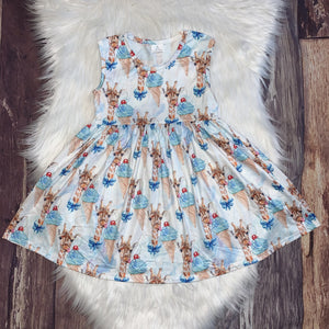Ice Cream Giraffes Printed Partial-Twirl Summer Dress