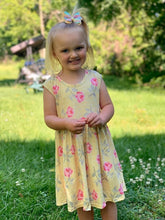 Load image into Gallery viewer, Mid Twirl Summer Dress in Yellow Rose Print