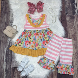 Pink Stripe Floral Ruffle Tunic and Capri Set