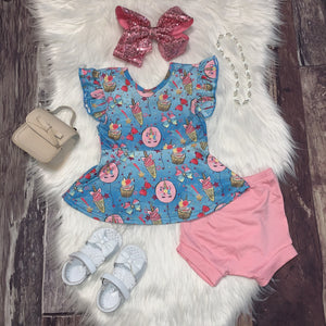 Unicorn Sweets Flutter Sleeve Peplum Set