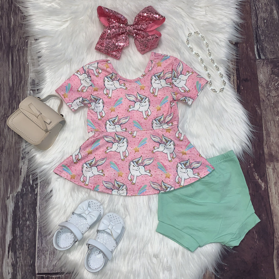 Unicorns and Shooting Stars Peplum Bummie Set