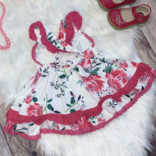 Load image into Gallery viewer, Pink Floral and Lace Ruffle Dress Set with Bloomers