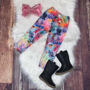 Watercolor Princess Mash-up Print Leggings