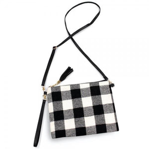 Over The Shoulder Purse - White Buffalo Plaid - RTS
